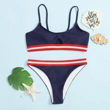 Girls Striped Trim Cut-out Bikini Swimsuit