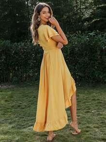 Ruffle Hem Wrap Belted High Low Dress