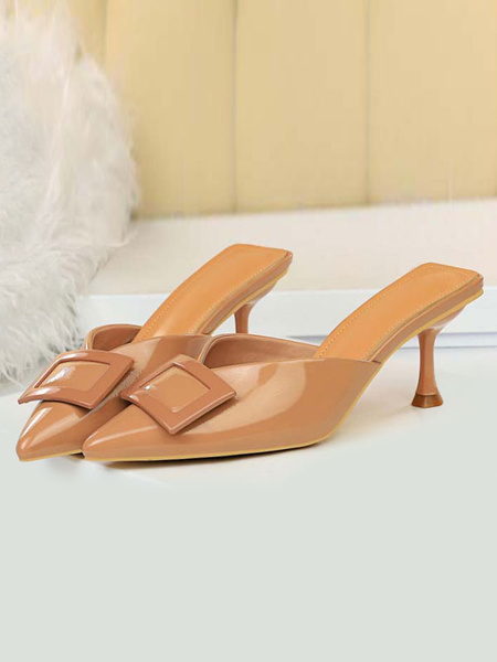Milanoo Sandalias de tacon alto Zapatos de mula sin respaldo con detalle de hebilla puntiaguda negra para mujer