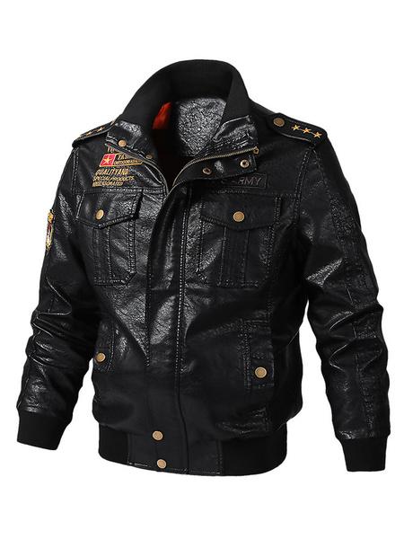 Milanoo Chaqueta de cuero para hombre Chaqueta de moto con estampado Retro Words Fall Black