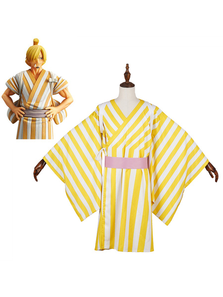 Milanoo One Piece Wano Country Arc Sanji Vinsmoke Kimono Cosplay Costume