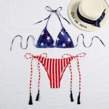 Bikini Badeanzug mit Stern & Streifen Muster, Neckholder, Quasten und seitlichem Band