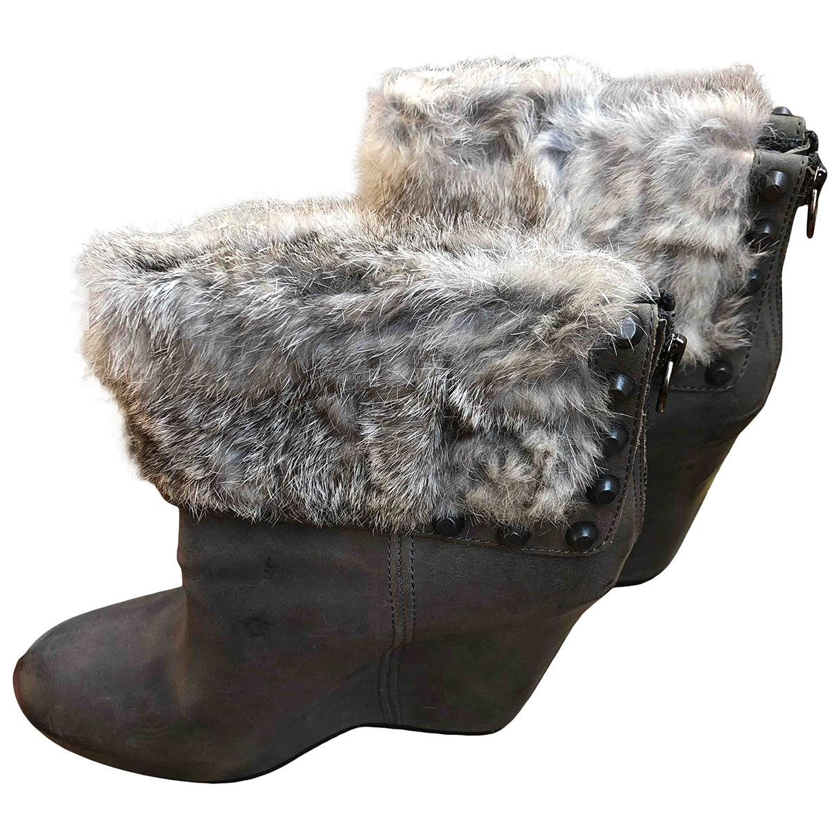 Ash - Boots   pour femme en cuir - gris