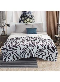 Blue Zebra-stripe Blanket Flannel&berber Fleece Warm Bed Blanket