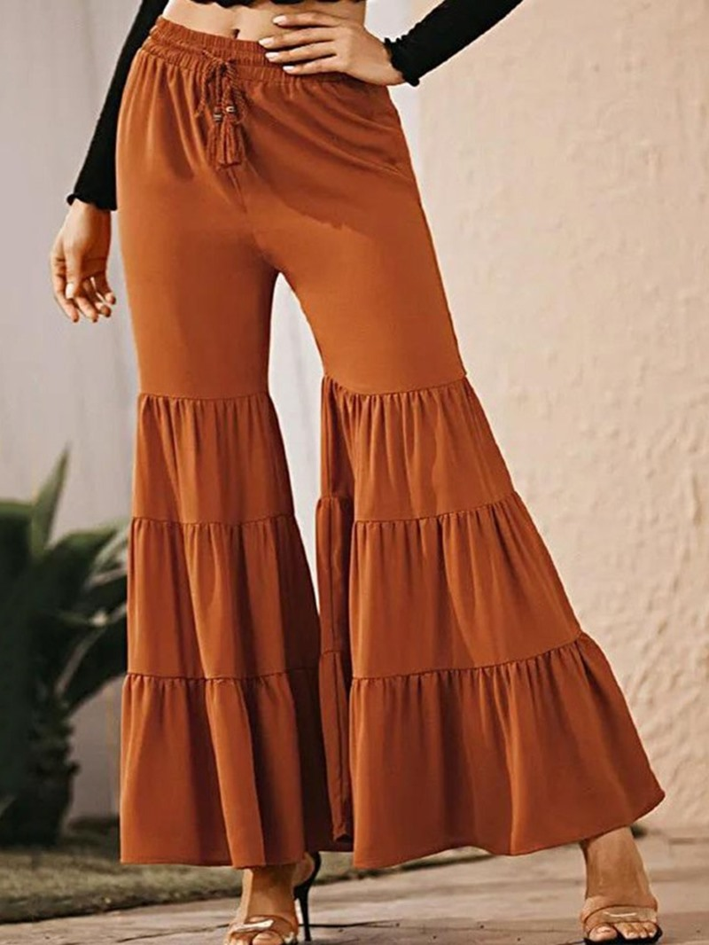 Ericdress Plain Loose Pleated Bellbottoms Full Length Casual Pants