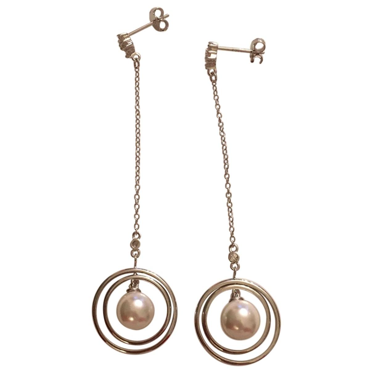 Non Signé / Unsigned Nacre White Silver Gilt Earrings for Women \N