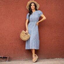 Kleid mit Bluemchen Muster, Schluesselloch hinten und Rueschenbesatz