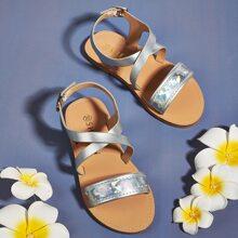 Toddler Girls Holographic Detail Slingback Sandals