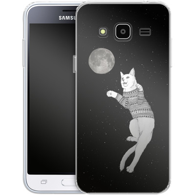 Samsung Galaxy J3 (2016) Silikon Handyhuelle - Hipster Cat Trying to Catch the Moon von Barruf
