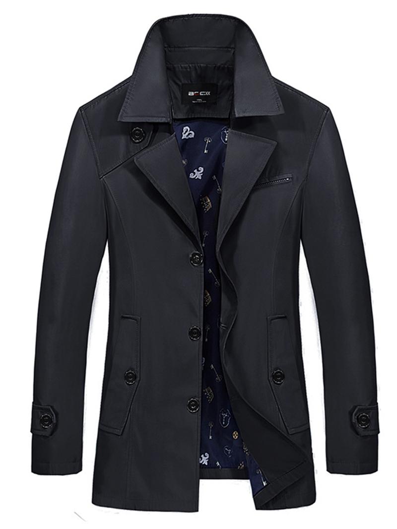 Ericdress Plain Lapel Mid-Length Vogue Mens Trench Coat