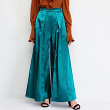 Pantalones de saten doblados de pierna ancha