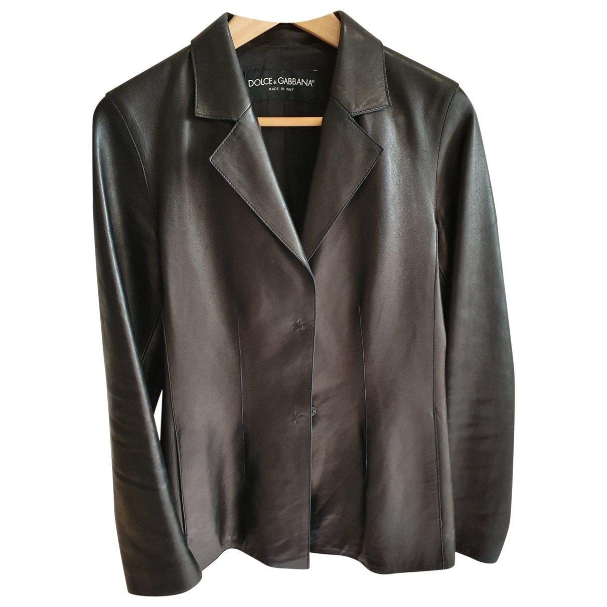 Dolce & Gabbana \N Black Leather jacket for Women 44 IT