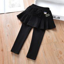 Pantalones de combinacion con bordado de dibujos animados