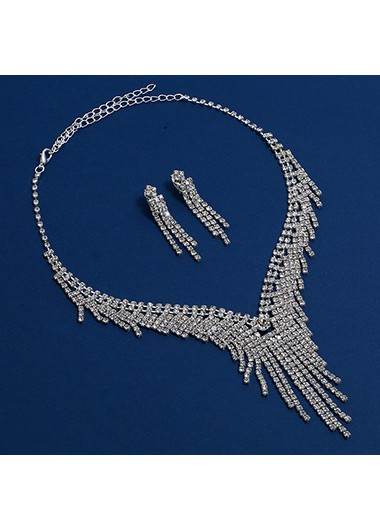 Mother's Day Gifts Silver Metal Rhinestone Embellished Necklace Set for Lady - One Size