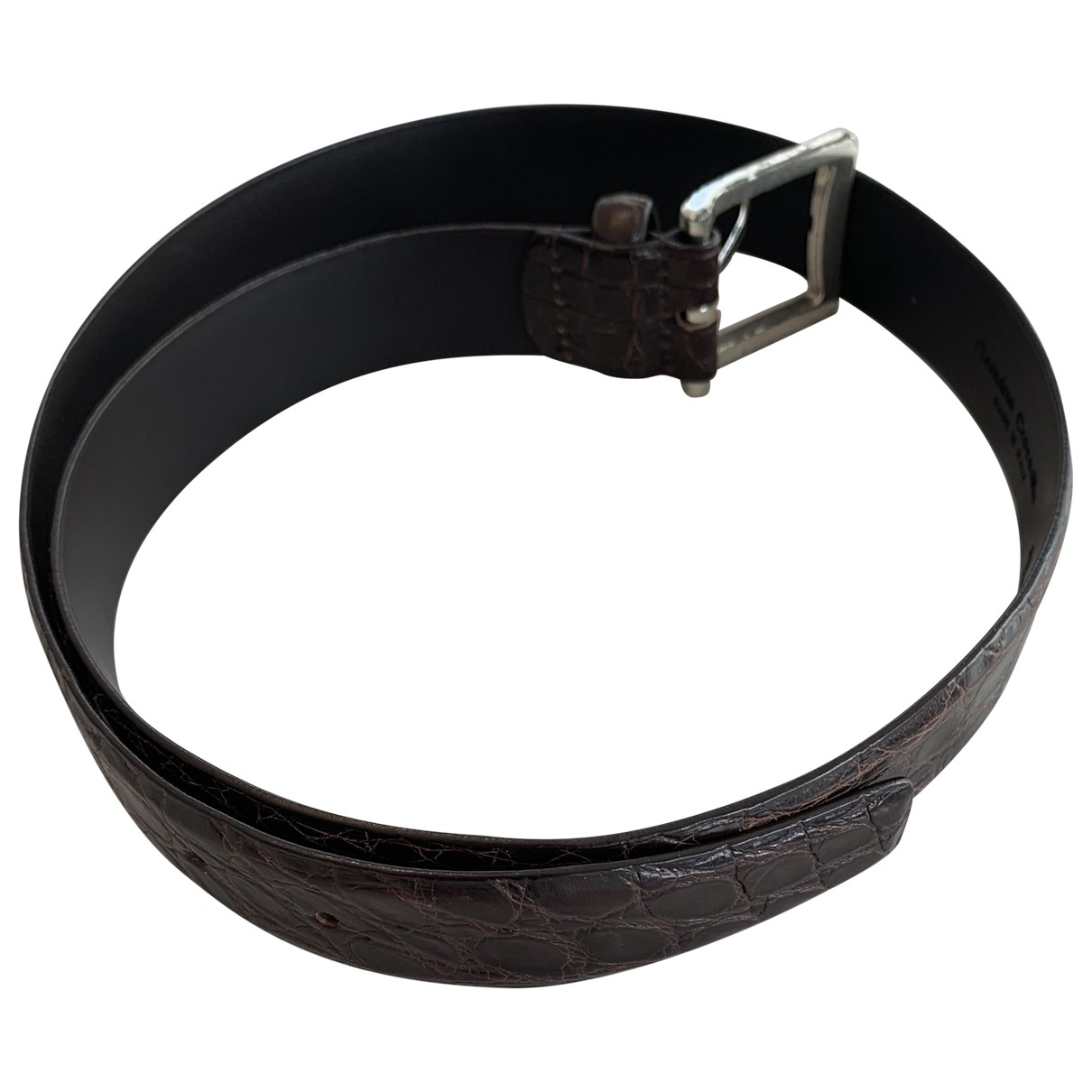 Non Signé / Unsigned N Brown Crocodile belt for Men 90 cm