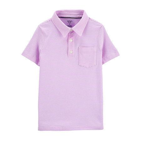 Carter's Little & Big Boys Short Sleeve Polo Shirt, 7 , Purple