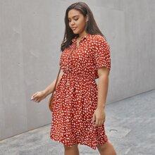 Plus Dalmatian Print Shirt Dress