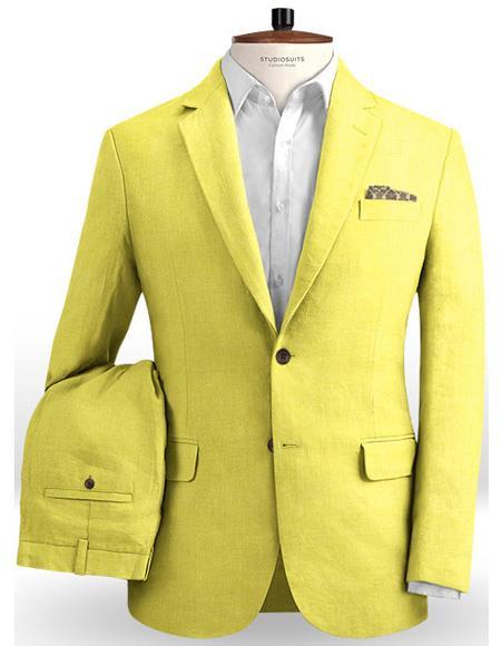 Mens Single Breasted Safari Yellow Two Button
