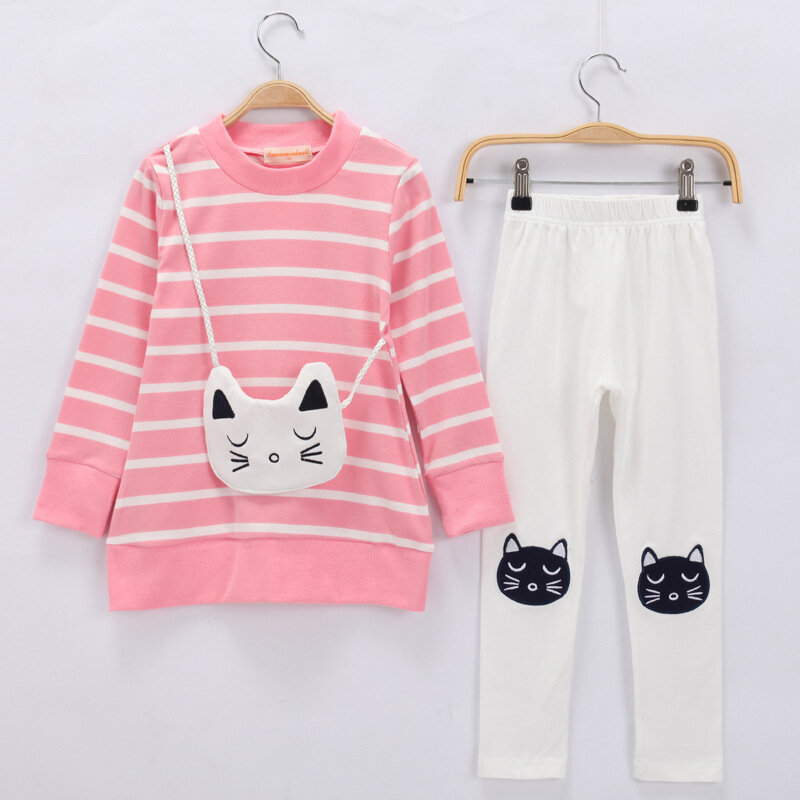 Cute Cat Girls Clothing Set Striped Tops + Pencil Pants For 3Y-11Y