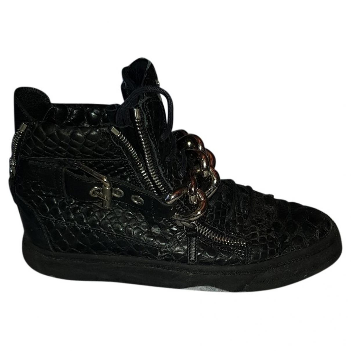 Giuseppe Zanotti - Baskets   pour homme en crocodile - noir