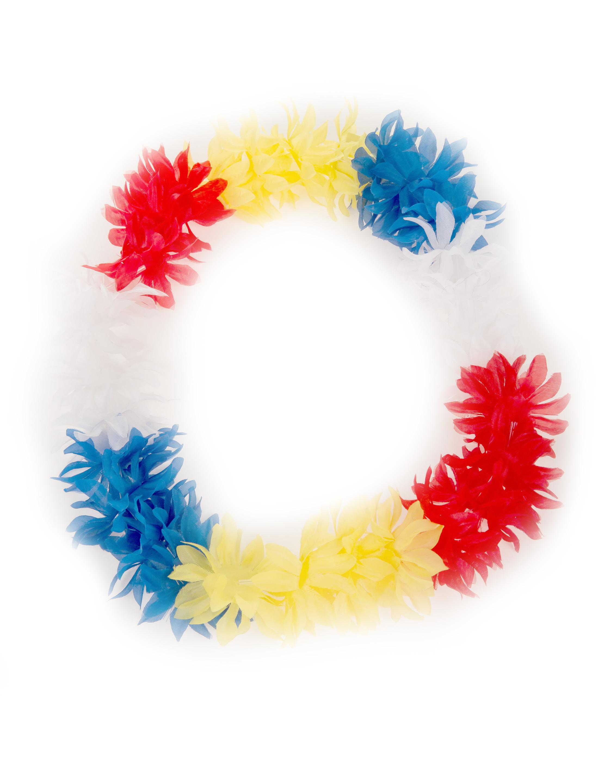Kostuemzubehor Hawaiikette de luxe rot/weiss/blau/gelb