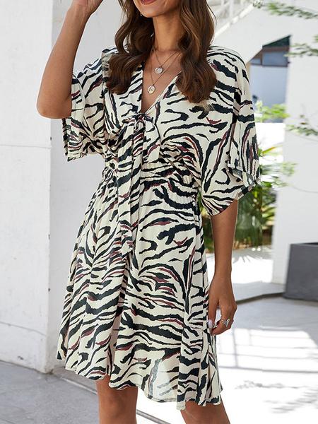 Milanoo Vestido de verano Vestido de playa de poliester con estampado de animales con cuello en V de camello plisado