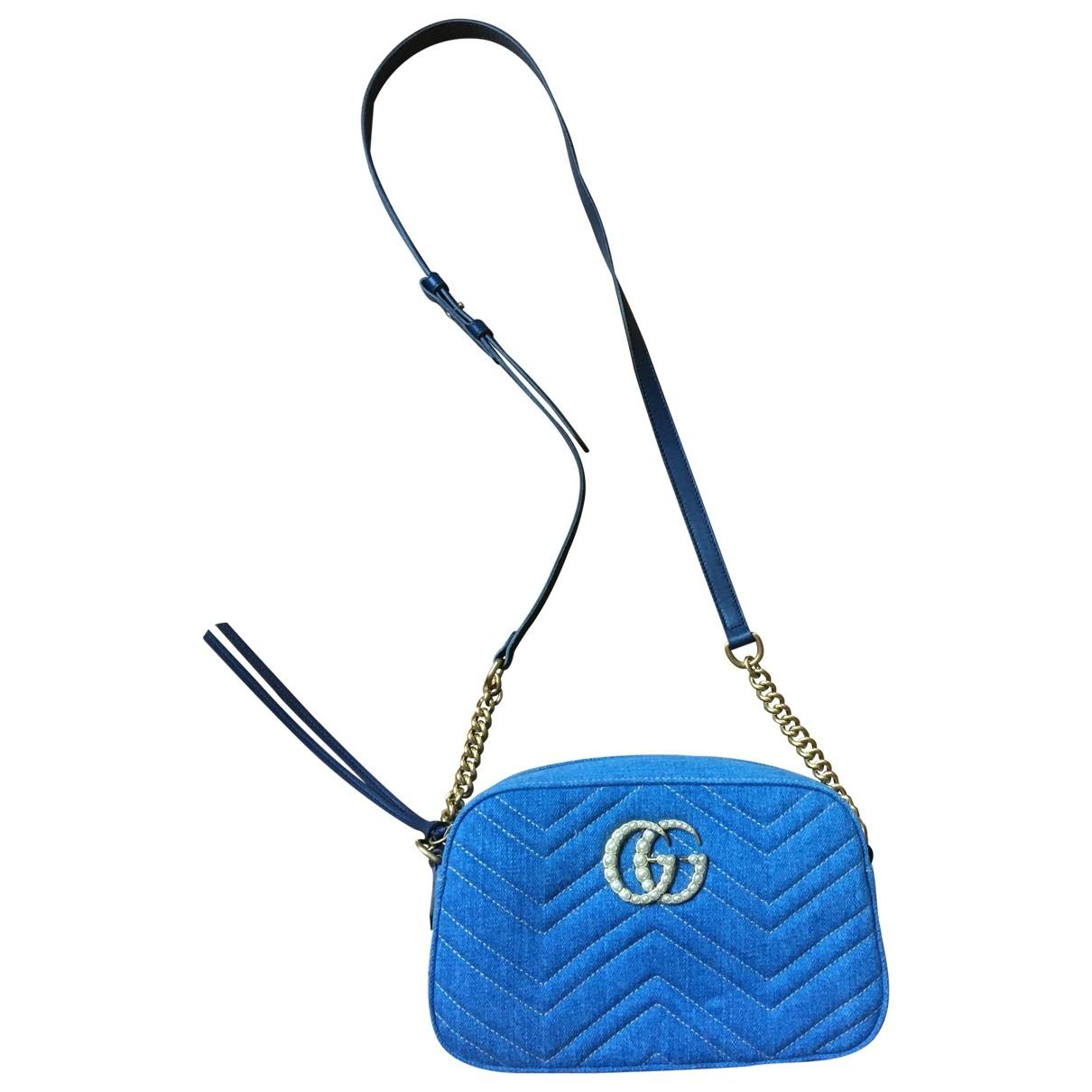 Gucci - Sac a main Marmont pour femme en denim - bleu