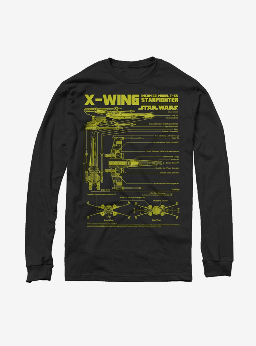 Star Wars X-Wing Schematics Long Sleeve T-Shirt