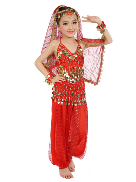 Milanoo Belly Dance Costume Kids Blue Chiffon Sleeveless Indian Bollywood Dancing Costumes
