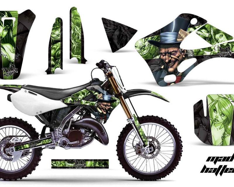 AMR Racing Dirt Bike Graphics Kit Decal Wrap For Kawasaki KX125 | KX250 1999-2002áHATTER GREEN BLACK
