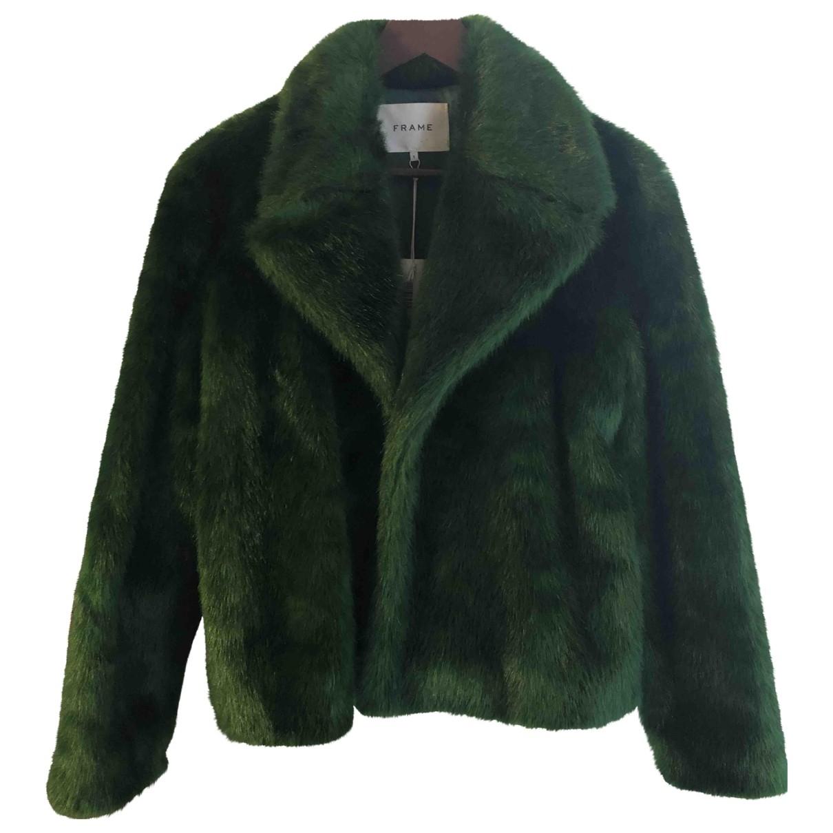 Frame Denim - Manteau   pour femme en fourrure synthetique - vert