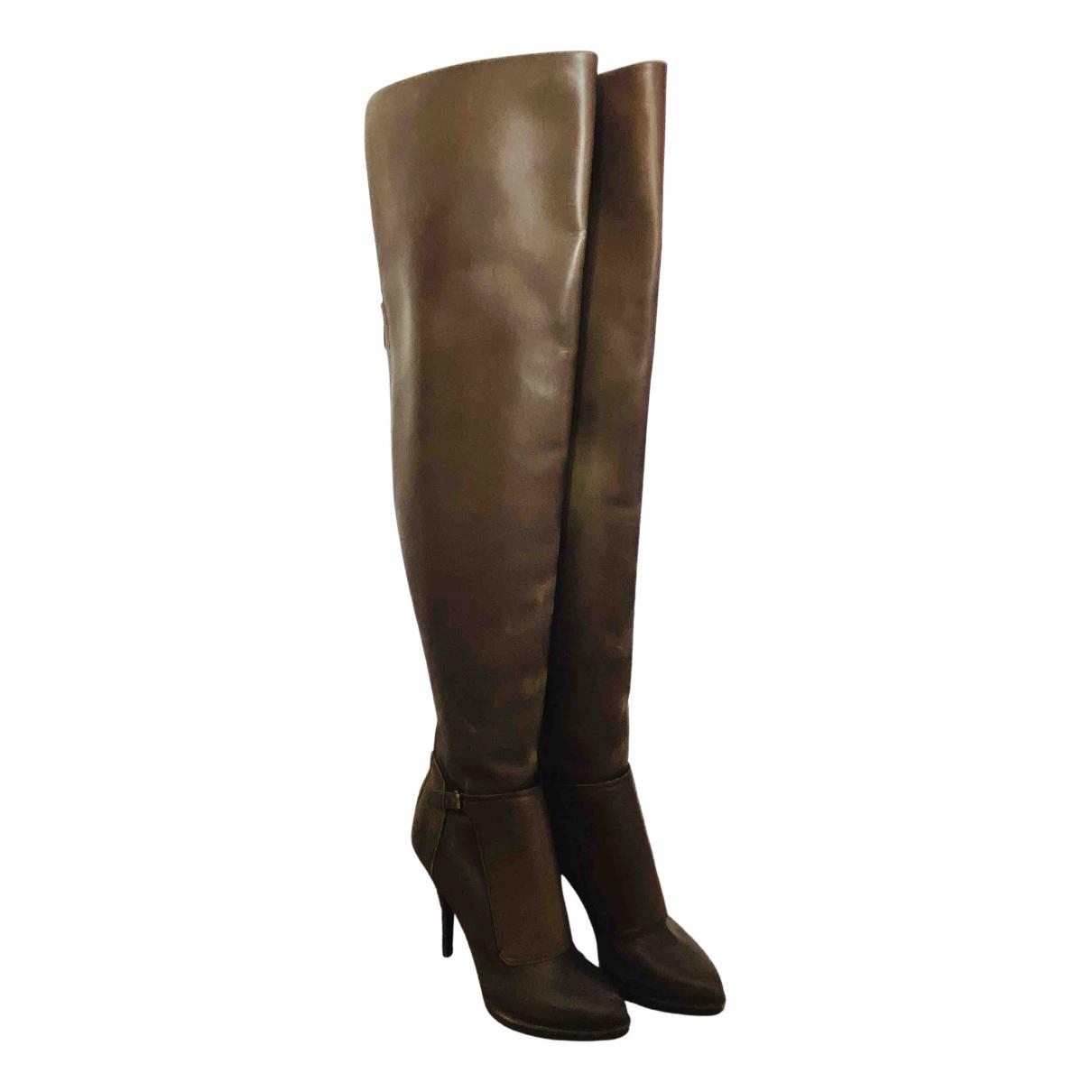 Givenchy - Bottes   pour femme en cuir - gris