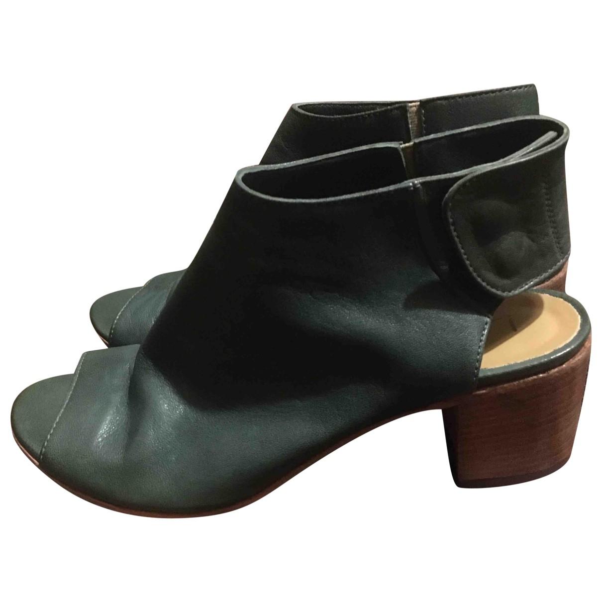 - Sandales   pour femme en cuir - vert