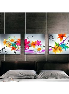 New Arrival Modern Style Colorful Flowers Print 3-piece Cross Film Wall Art Prints