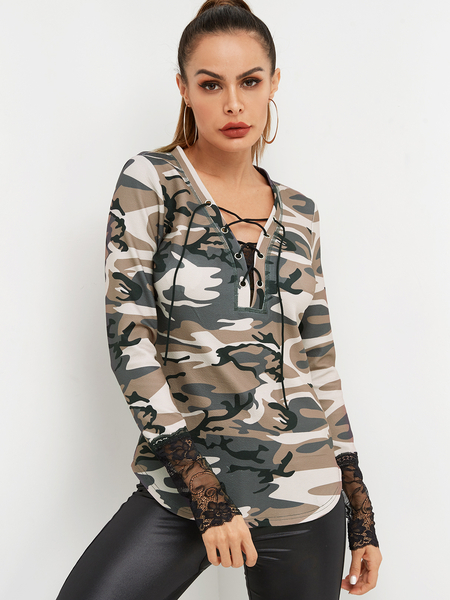 Yoins Camo V-neck Lace-up Front Long Sleeved with Lace Hem Top