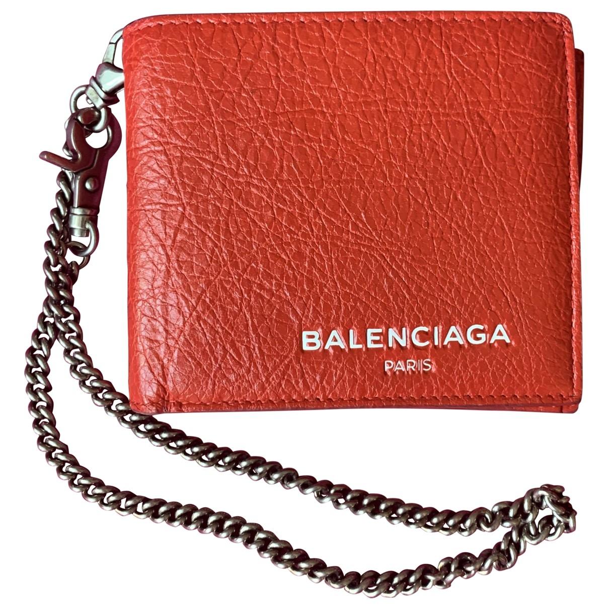Balenciaga - Petite maroquinerie   pour homme en cuir - rouge