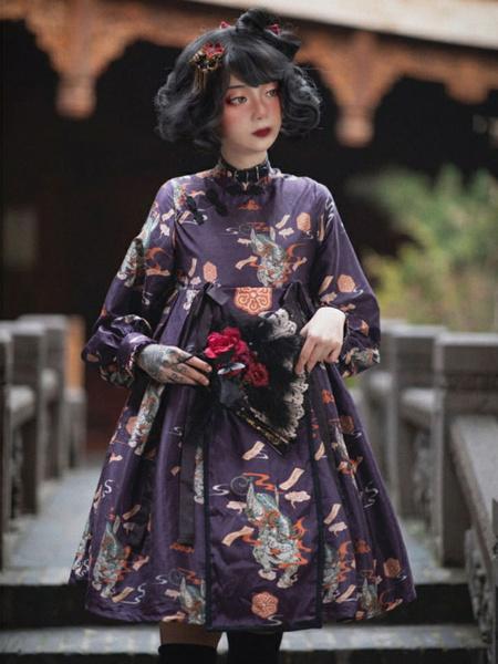 Milanoo Sweet Lolita OP Dress Neverland Draped Bows Deep Purple Floral Print Long Sleeves Polyester Lolita One Piece Dresses