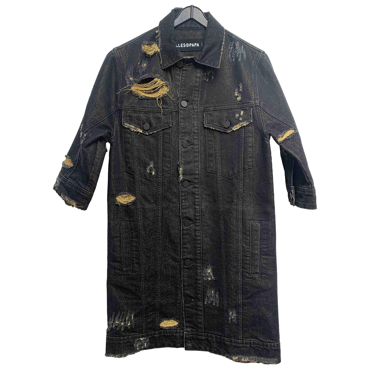 Filles A Papa \N Kleid in  Schwarz Denim - Jeans