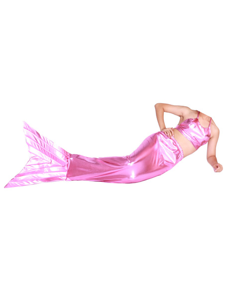 Milanoo Disfraz Halloween Sirena de cola metalico brillante rosa Animal Zentai  Halloween