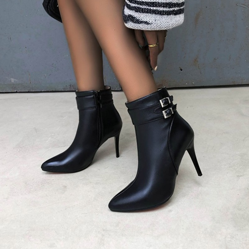 Ericdress Plain Stiletto Heel Side Zipper Buckle Boots