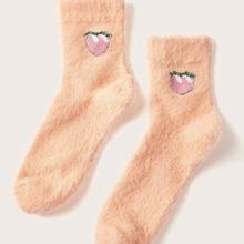 Peach Print Fuzzy Socks