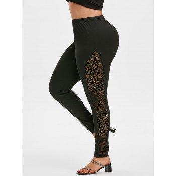 Plus Size High Rise Sheer Lace Insert Leggings