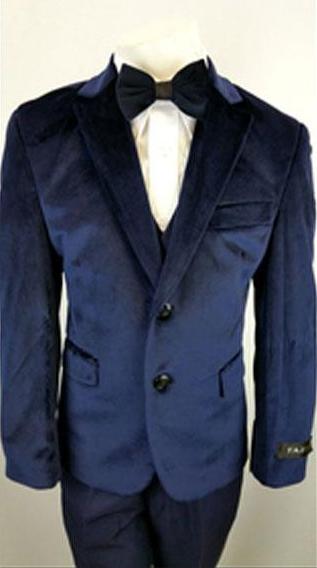 Kids Boys Navy 2 Buttons Notch Lapel Velvet Suit