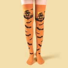 Hohe Struempfe mit Halloween Fledermaus Muster