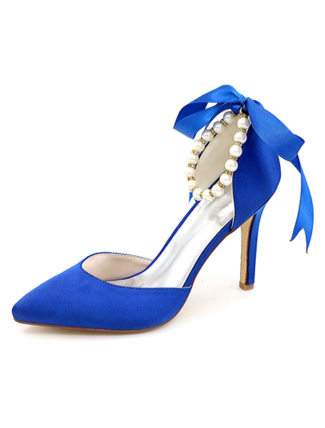 Milanoo Blue Pointed Toe Wedding Shoes D'orsay Pearl Ankle Strap High Heel Bridal Shoes