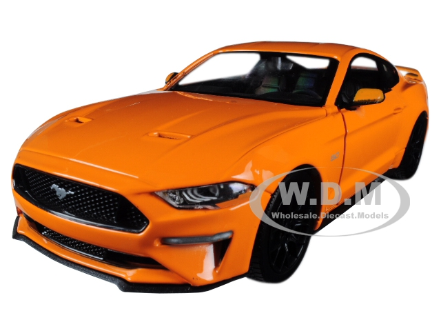 2018 Ford Mustang GT 5.0 Orange with Black Wheels 1/24 Diecast Model Car by Motormax
