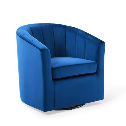 Prospect Collection EEI-4139-NAV Armchair with Rotating Swivel Base  Dense Foam Padded Seat  Barrel Back Design and Stain Resistant Velvet Fabric