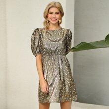 D&M Puff Sleeve Ditsy Floral Metallic Dress