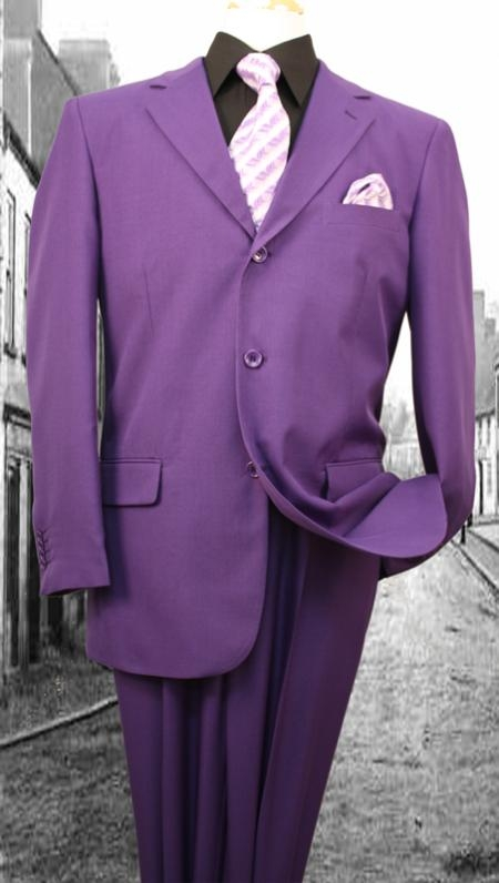 Mens 3Button Suit Single Breasted Slim Fit Double Pleated Pants Purple