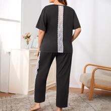 Plus Contrast Lace V-Neck  Pajama Set